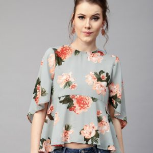 Women-Blue-Printed-A-Line-Top